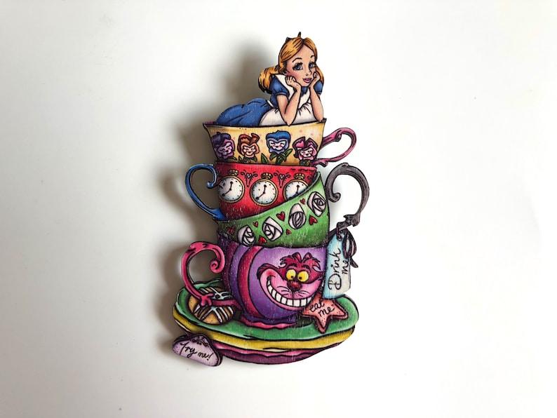 NEW LARGER Teacup Alice  Alice in Wonderland  Laser Cut Wood image 0