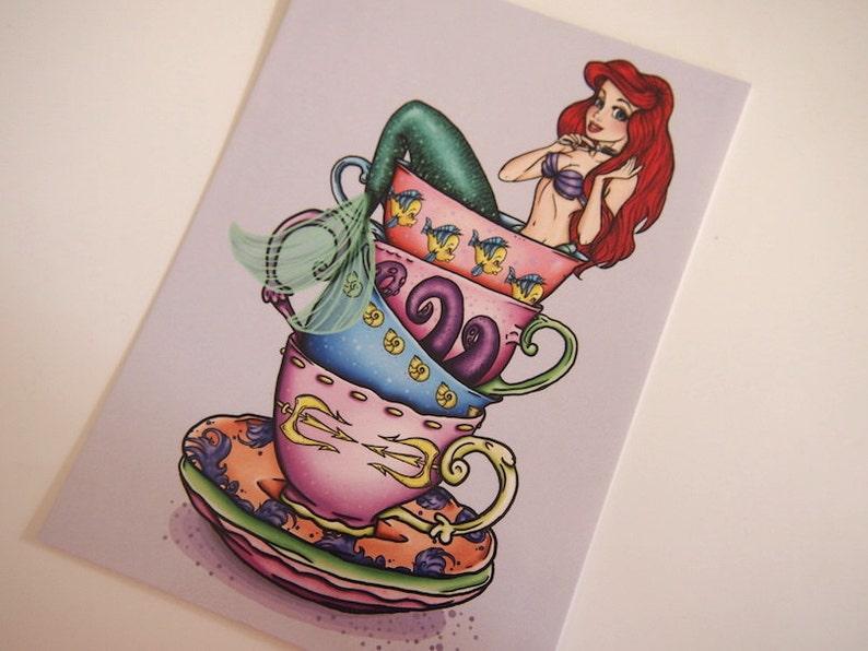 Teacup Ariel The Little Mermaid Postcard image 0