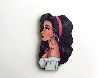 NEW LARGER Princess Profile - Esmeralda - The Hunchback of Notre-Dame - Laser Cut Wood Brooch