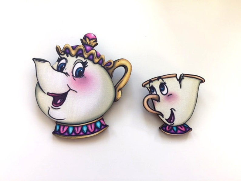 Mrs. Potts and Chip  Beauty and the Beast  Laser Cut Wood image 0