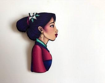 NEW LARGER Princess Profile - Mulan - Laser Cut Wood Brooch