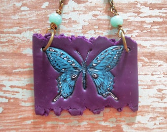 SALE~ One Of A Kind ~ Hand Made Clay Slab in Purple with Hand Painted Butterfly in Teal By: Brooke Baker