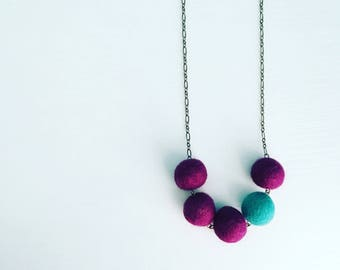 Southport Felt Necklace - Grape / Turquoise