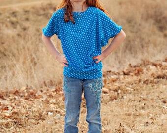 Girls Asymmetrical Drape Top (NB-18) Downloadable .PDF Sewing Pattern & E-Book