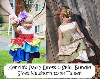 Kenzie's Party Dress & Skirt BUNDLE Sizes Newborn - 18 Tween .PDF Sewing Pattern