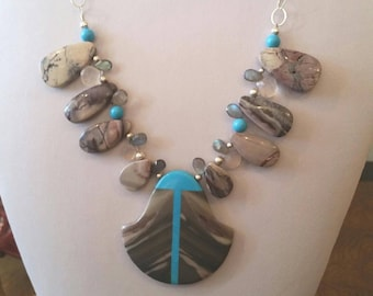 Bold, Plus Size Necklace with Intarsia Pendant, Porcelain Jasper, Natural Arizona Turquoise, Labradorite, Chalcedony, and Sterling Silver