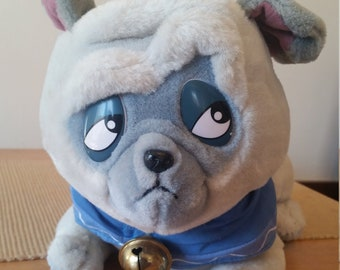 Vintage Pocahontas Plush Percy the Pug with Jointed / Turning Head and Bell - From Walt Disney World Parks / Disneyland - Pug Collectibles