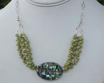 Shimmering, Delicate Mermaid / Ocean Necklace with Vintage, Light Green Mongo Shells, Mosaic Abalone Pendant, & Sterling Silver Chain