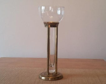 Vintage 1995 Ambrosia Brass & Glass Floating Candle / Candlestick Holder - Handmade in India