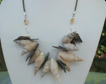 Organic, Playful Mermaid / Ocean Shell Necklace with Whole Gray and Tan Auger Shells, XL Abalone Chips, Mother of Pearl,  & Sterling Silver