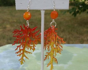 Unique, Lightweight, Dangle Mermaid / Ocean Earrings with Faceted, Orange Coral, Orange and Yellow Coral Fans, & Sterling Silver