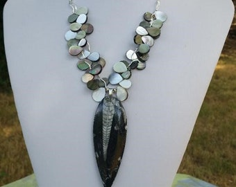 Dramatic, Black and White, Mermaid / Ocean, Statement Necklace with Orthoceras / Marine Fossil Pendant, Mother of Pearl, & Sterling Silver