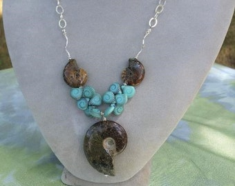 Elegant, Powerful Mermaid Necklace with Ammonite Fossils, Aqua, Patterned Czech Glass Drops and Sterling Silver Chain  & Findings