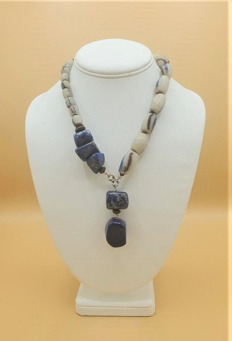 Unique Tribal Inspired Boho Necklace with Vintage African image 1