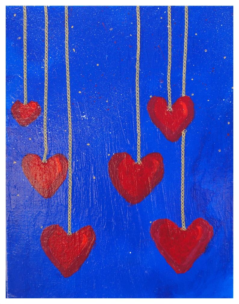 Hearts Love Canvas Original Painting Minimalist Birthday