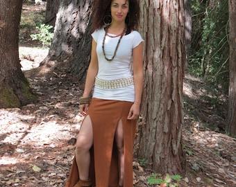 Plumeria Double Slit Skirt