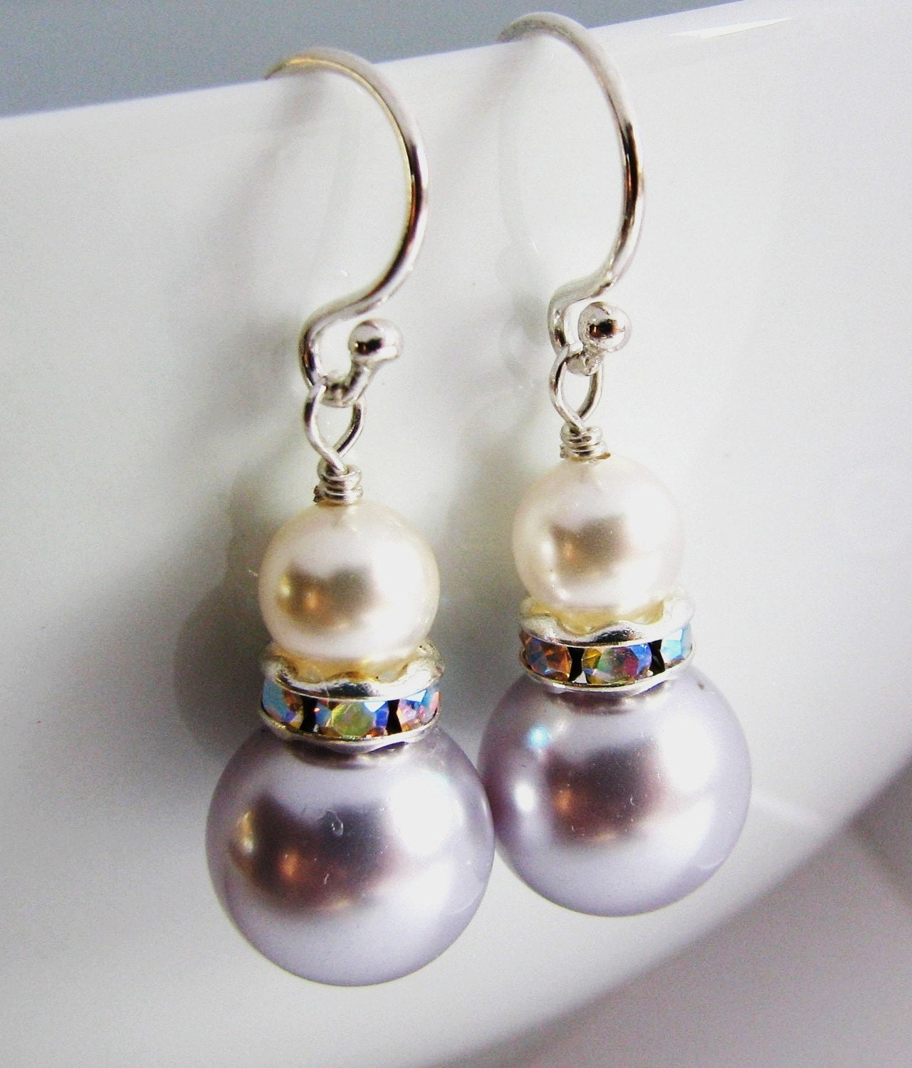 Sterling Silver Filigree Artisan White Shell Pearl Earrings in Gift Box ~ Made in USA