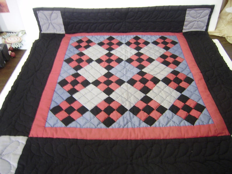 Amish Style Hand Quilted Wall Hanging Quilt 28 by 28 Black Blue Red