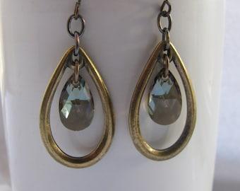 Golden Antique Brass and Swarovski Bronze Crystal Earrings