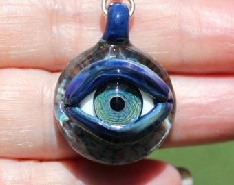 Evil Eye boro pendant -Handmade evil eye with sterling silver bail!