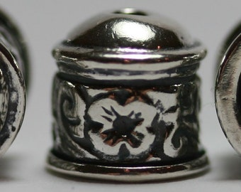 6 Viking knit end caps Sterling Silver  Engraved Floral