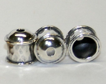 Viking knit end caps-10 Sterling Silver Hammered end caps