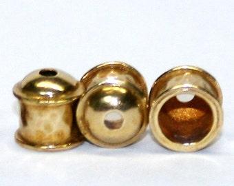 12 Viking Knit End Caps - Brass