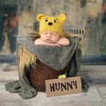 Newborn knit Winnie the Pooh hat