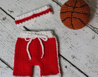 Newborn knit basketball shorts and sweatband set in your team's colors