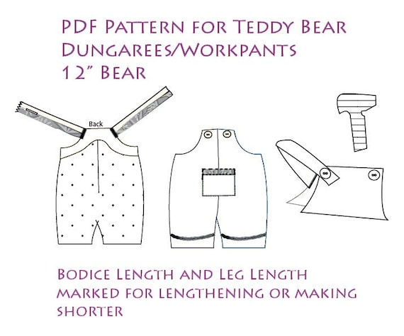 photograph relating to Teddy Bear Sewing Pattern Free Printable named Workwear trousers for undergo. Sewing Behavior - Electronic Behavior - Recycle venture Present undertaking. Present Sewing