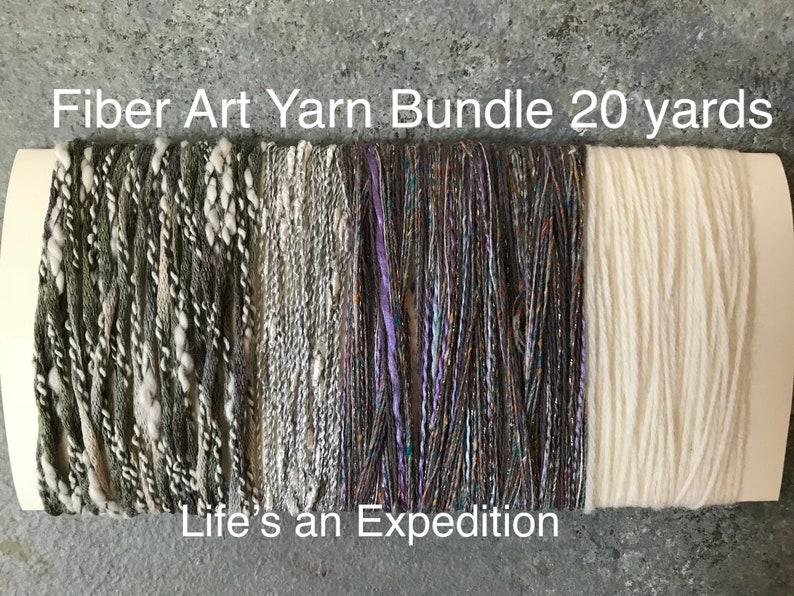 Art yarn bundle gray white lavender yarn samples Brocante image 0