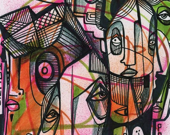 """Hocus Pocus - Original mixed media Illustration on Bristol - 8"""" x 10"""""""