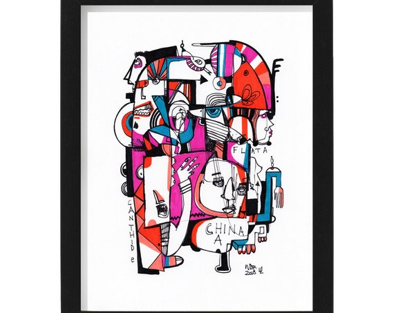 "Flat A / Chin A - Original mixed media Illustration on Paper - 8"" x 10"" - Framed"