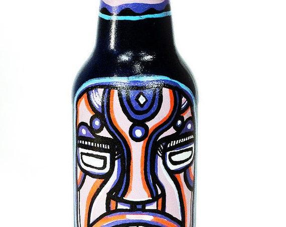 Bottle NO. 52 - Original Mixed Media illustration on Beer Bottle