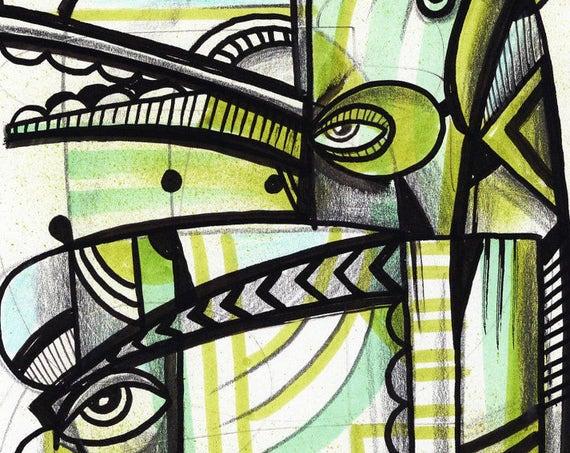 """Green Dog - Original mixed media Illustration on Bristol - 6.5"""" x 9"""""""