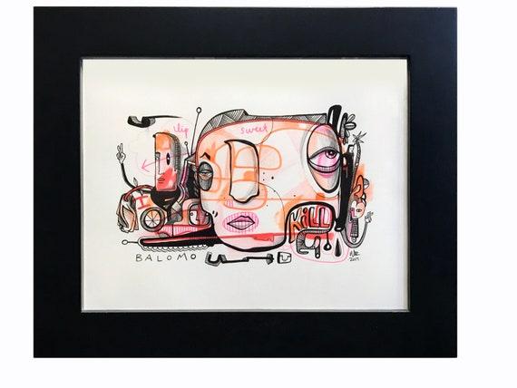 Lip Sweet Kill - Original drawing on Bristol - framed