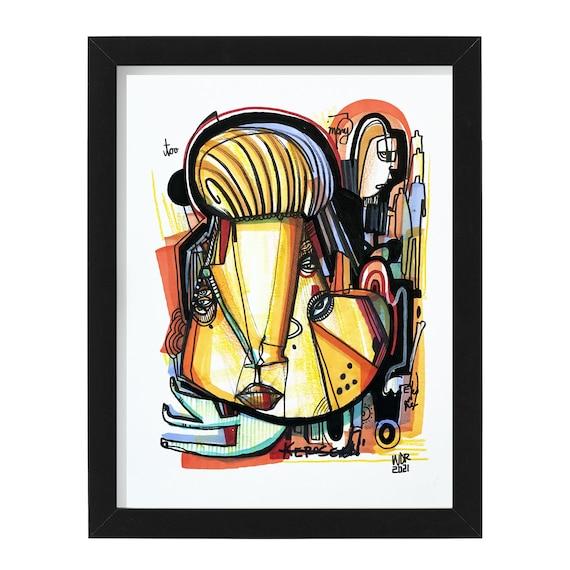 "Too Many Eyes on Me - Original mixed media Illustration on Bristol - 8"" x 10"" - Original Artwork"