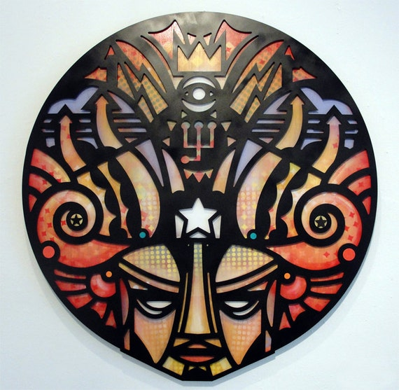 The Whim Idol - Original Mixed Media on Wood and Aluminum Cut Out