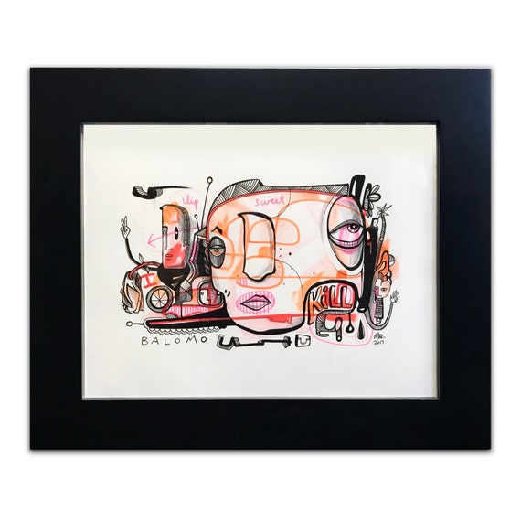 Lip Sweet Kill - Original drawing on Bristol - framed
