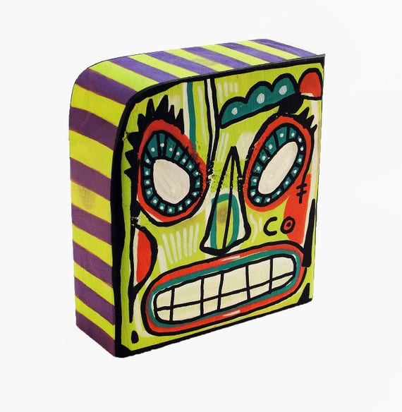 Funk Totem Part No. 268 - Original Mixed Media Block - Vol. 12