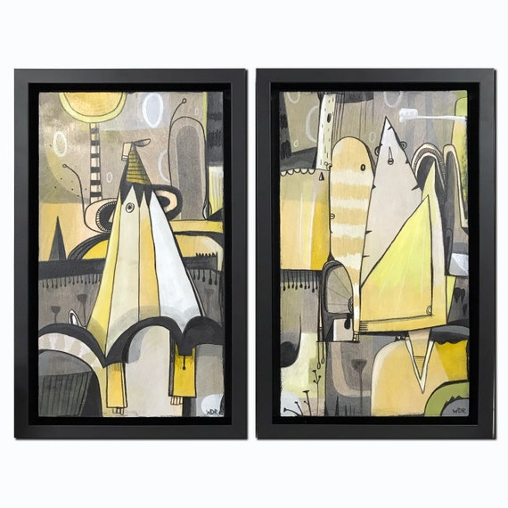 "Lemon World - Original mixed media painting on wood - Framed - 8.5"" x 13.625"" (each)"
