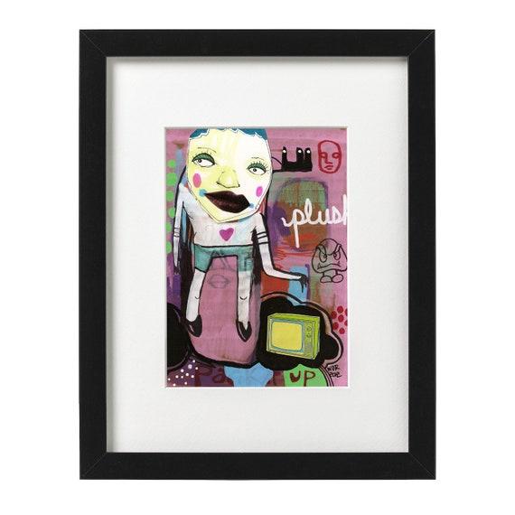 Plush Tube - Original Mixed Media Collage on Cardboard - Framed