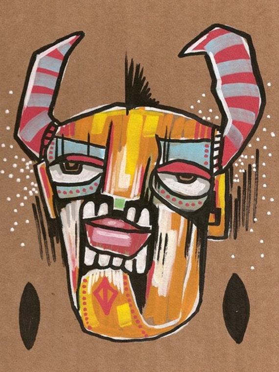 Adorn a Horn - Original Illustration on Cardboard