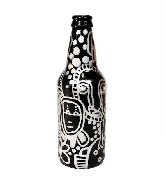 Bottle NO. 25 - Original Mixed Media illustration on Beer Bottle