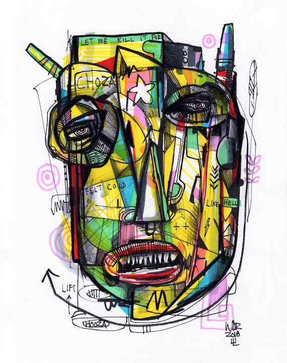 "Choza - Original mixed media Illustration on Paper - 8"" x 10"""
