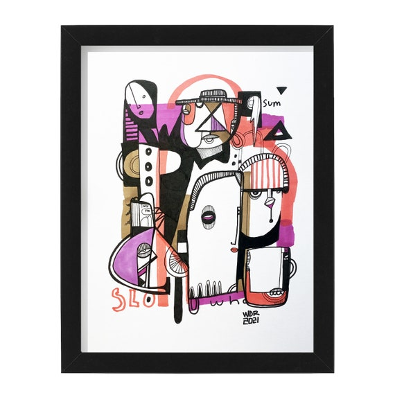 "Slo Sum- Original mixed media Illustration on Bristol - 8"" x 10"" - Original Artwork"