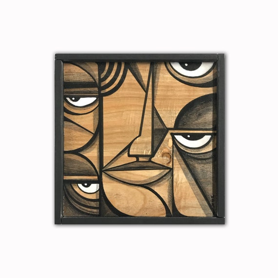 "Mind Eye's 1 - Original acrylic painting on wood - 6"" x 6"" - framed"