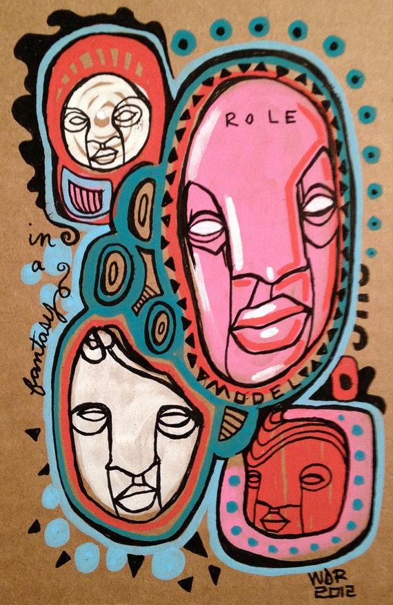 Role Models - Original Illustration on Cardboard