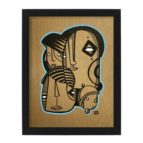 """Blue Line - Original Ink Illustration on Cardboard - 8"""" x 10"""" - Original Artwork"""