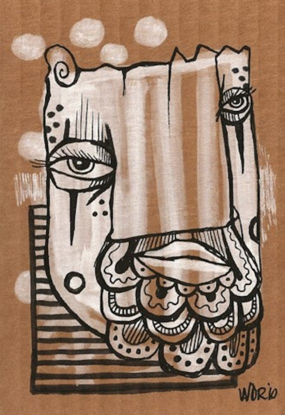 Deco Beard - Original Illustration on Cardboard